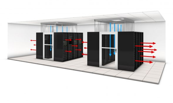 Hot and cold aisle containment within data center design.